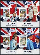 Djibouti 2017 Princess Diana Set Of Four Imperforate Souvenir Sheets Mint Nh