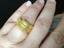 Genuine Yellow diamond .33 ct 14kt gold overlay sterling ring