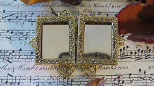 Small Wearable Double Photo Frame Pin Brooch 24kt Gold Plate add Favorite Photos