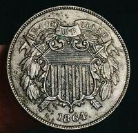 1864 Two Cent Piece 2C FULL MOTTO Details Civil War Era US Copper Coin CC5657
