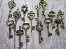 Antique Bronze Metal Keys Skeleton Wedding Steampunk Vintage Pendant Charm 14 UK