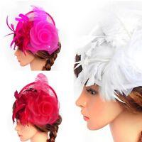 Women Hair Clip Accessory Wedding Fascinator Veil Pillbox Hat Feather Headband