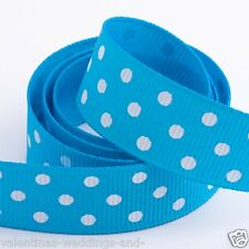 Polka Dot Grosgrain Ribbon 10mm X 45m Various Colours 50 Yards Turquoise