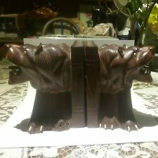 Pair Lion Wooden Bookends ( Heavy )
