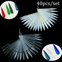 40PC False Nail Art Polish Gel Art Tip Sample Practice Display Fan Swatch Tool