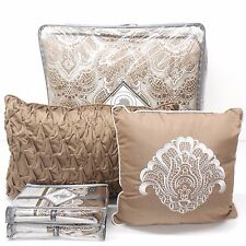 WATERFORD Lowery KING COMFORTER SET 8pc Floral Paisley BORDER Silver Ivory Taupe
