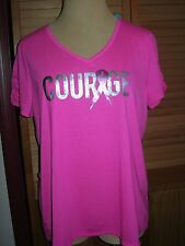 Lane Bryant Livi Active Pink Courage Short Ruched Sleeve Top 18/20 Breast Cancer