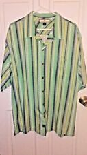 Tommy Bahama Men's Green Blue Striped Shirt 100% Silk Size XL Button Down