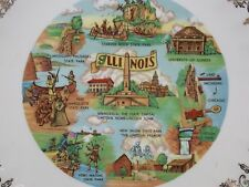 "Collectible Souvenir State Plate ~ Illinois ~ 9.5"" ~ Gold Fruit Bowl Border"