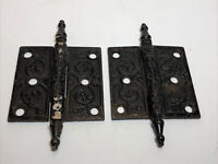 Set Of 2 Antique Victorian Style Ornate Steeple Cast Iron 3x3 Door Himges Black