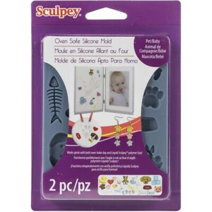 Sculpey Oven Bakeable Silicone Mold Pet & Baby Themed Designs for Polymer Clay