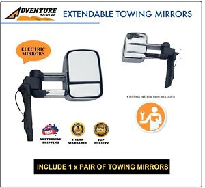 EXTENDABLE TOWING MIRROR TOYOTA LANDCRUISER 70 75 76 78 79 SERIES ELECTRIC CHROM