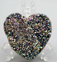 70g Light Aura Quartz Crystal Titanium Bismuth Silicon Cluster Heart Rainbows