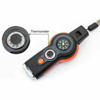 Hot 7 in 1 Emergency Survival Camping Hiking Whistle Compass Thermometer LED
