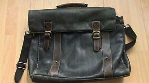 Leather Men's Messenger/Shoulder handle  Bag - Brown/black Marks & Spencer