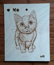 Cat, Kitten, Pet, Animal, Original Wood Burn Drawing on Wood, Signed, Art