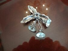 VINTAGE MEXICO STERLING SILVER HOLLY PIN WITH BELLS---925--