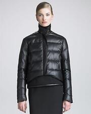 CHRISTOPHER KANE Black Leather Puffer Jacket Sz:8USA Retail $1,955 NEW