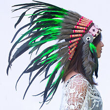 Feather Headdress -Native American Indian style War Bonnet- Green Rooster