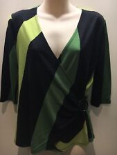 Green Black Retro Print V-Neck Wrap Front 3/4 Sleeve Top Size UK 14 Fit AU 10 12