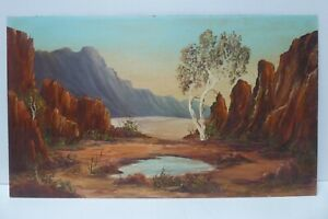 C.RENIE UNFRAMED PAINTING AUSTRALIAN LANDSCAPE ARTIST CENTRAL DESERT GUTH STYLE