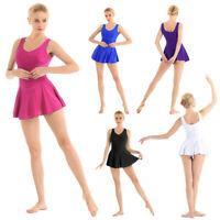 Women Adult V-neck Ballet Dance Gymnastics Bodysuit Tutu Dress Leotard Dancewear