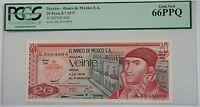 8.7.1977 Banco de Mexico S.A. 20 Pesos Note SCWPM# 64d PCGS 66 PPQ Gem New