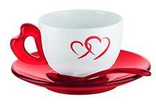Guzzini Love Set 2 Tazze Cappuccino con piattini e cucchiaini porcellana ...