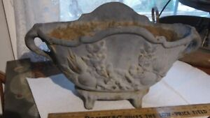 ANTIQUE VICTORIAN DOUBLE HANDLE FOOTED CAST IRON PLANTER URN POT