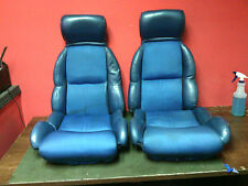 1984 - 1996 Chevrolet Corvette seats cushions and covers No tracks Used OEM Blue