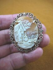 C-1334 Rebecca at the well house scene shell carved oval CAMEO silver Pin brooch