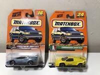 Lot Of 2 Matchbox 1999 1998 Lamborghini Countach Yellow, Blue #16, 24 SuperCars
