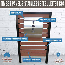 NEW Timber Pillar Letterbox Hendon Stainless Steel Mailbox Wall Mount