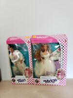 Wedding Day Midge and Alan Barbie Dolls, 1990, Mattel