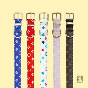 Dog Collar Luxury PU Leather / Designer Pet Collars Red, White, Brown, Pink Blue