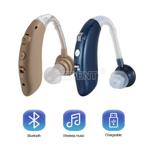 2Hearing Aid Rechargeable Mini Digital Sound Amplifier With Bluetooth Blue/Beige