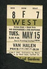 Original 1979 Van Halen concert ticket stub Toronto Canada World Vacation Tour
