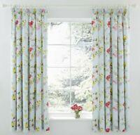 Lily Manor Vasilia Pencil Pleat Semi Sheer Curtains (Set of 2) blue + floral