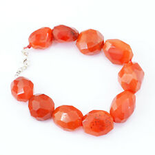 GORGEOUS BEST QUALITY 302.35 CTS NATURAL FACETED ORANGE CARNELIAN BEADS BRACELET