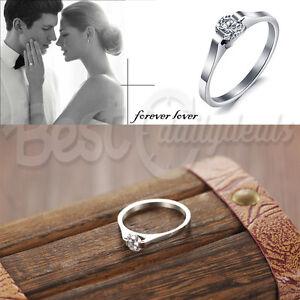 Cubic Zirconia Solitaire Ring Titanium Steel Wedding Engagement Promise Band