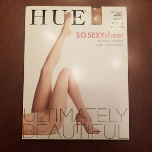 HUE SO SEXY Sheer Toeless With Lace Panty Pantyhose In Natural Size 2  Up To 6'