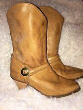 "Vintage Cowboy Boots Faux Leather Vegan 2""Heel 70s Boho Babe Hippie Coachella 7"