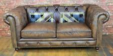 Chesterfield Union Jack design 2 seater sofa in Vintage Brown Top Quality