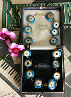 VINTAGE ART DECO PEACOCK EVIL EYE AQUA GLASS TAB BEADS NECKLACE BEAUTIFUL GIFT