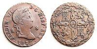 Variante-Fernando VII. 8 Maravedis 1827. Segovia. MBC+/VF+. Cobre 12 g. Escasa