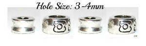 Set of 4 Tibetan Silver Spacer Beads Hair Braids Dreads Hole 3-4mm 04