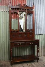 A Tall Art Nouveau Hall Stand with Beveled Mirror & Drawers