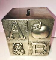 """Vintage Silver Plated Children's ABC and Image Coin Bank 1990's Engraved 3"""" Cube"""