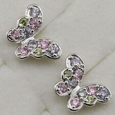 Crazy Nice Multi-Color Butterfly CZ Jewelry Gold Filled Stud Lady Earrings H1731