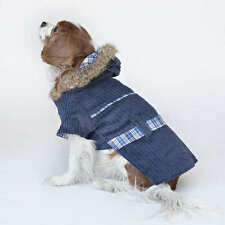 Designer Dog Reversible Coat with Hood Blue Plaid Size X-Small Faux Fur trim